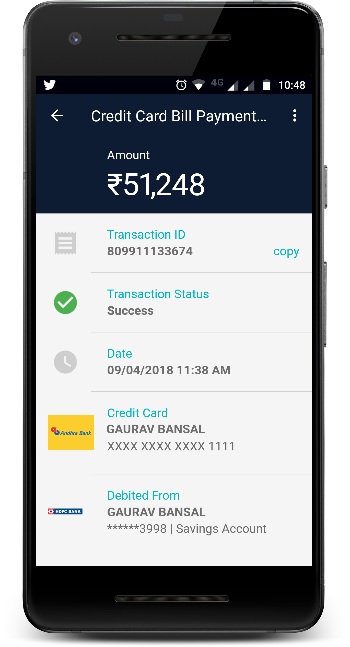 Andhra Bank Credit Card Payment using Any Bank Account in